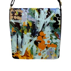 Abstract Country Garden Flap Messenger Bag (l)  by digitaldivadesigns