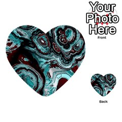 Fractal Marbled 05 Multi Purpose Cards (heart)  by ImpressiveMoments