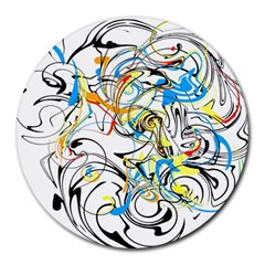 Abstract Fun Design Round Mousepads by digitaldivadesigns