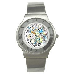Abstract Fun Design Stainless Steel Watches by digitaldivadesigns