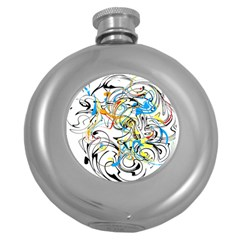 Abstract Fun Design Round Hip Flask (5 oz) by theunrulyartist