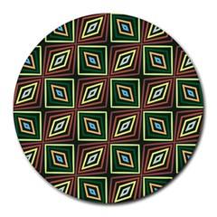 Rhombus Flowers Pattern Round Mousepad by LalyLauraFLM