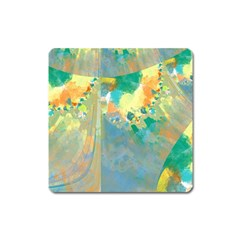 Abstract Flower Design In Turquoise And Yellows Square Magnet by theunrulyartist