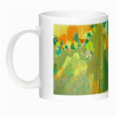 Abstract Flower Design In Turquoise And Yellows Night Luminous Mugs by digitaldivadesigns