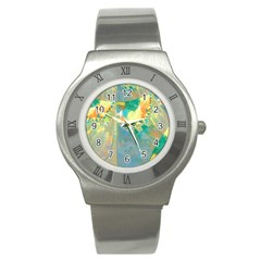 Abstract Flower Design In Turquoise And Yellows Stainless Steel Watches by theunrulyartist