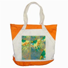 Abstract Flower Design In Turquoise And Yellows Accent Tote Bag  by theunrulyartist