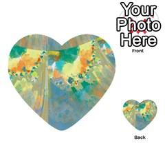 Abstract Flower Design In Turquoise And Yellows Multi Purpose Cards (heart)