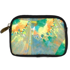 Abstract Flower Design In Turquoise And Yellows Digital Camera Cases by theunrulyartist