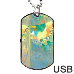 Abstract Flower Design In Turquoise And Yellows Dog Tag Usb Flash (two Sides)  by theunrulyartist