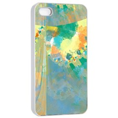 Abstract Flower Design In Turquoise And Yellows Apple Iphone 4/4s Seamless Case (white) by theunrulyartist