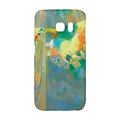 Abstract Flower Design In Turquoise And Yellows Galaxy S6 Edge by theunrulyartist