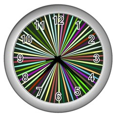 Colorful Rays Wall Clock (silver) by LalyLauraFLM