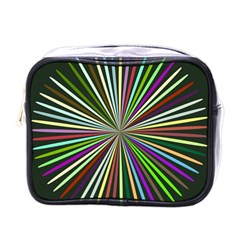 Colorful Rays Mini Toiletries Bag (one Side) by LalyLauraFLM