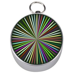 Colorful Rays Silver Compass by LalyLauraFLM