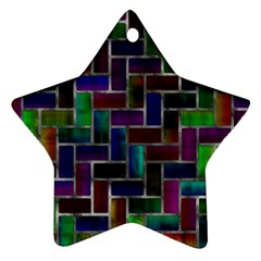 Colorful Rectangles Pattern Ornament (star) by LalyLauraFLM