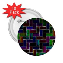 Colorful Rectangles Pattern 2 25  Button (10 Pack) by LalyLauraFLM