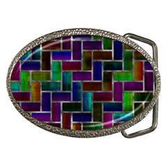 Colorful Rectangles Pattern Belt Buckle by LalyLauraFLM