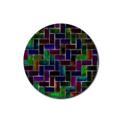 Colorful Rectangles Pattern Rubber Coaster (round) by LalyLauraFLM