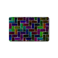 Colorful Rectangles Pattern Magnet (name Card) by LalyLauraFLM