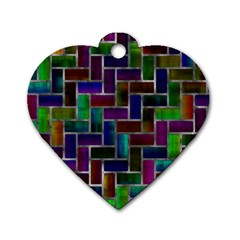 Colorful Rectangles Pattern Dog Tag Heart (two Sides) by LalyLauraFLM
