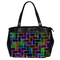 Colorful Rectangles Pattern Oversize Office Handbag (2 Sides) by LalyLauraFLM