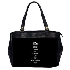 Keep Calm And Carry On My Wayward Son Oversize Office Handbag (two Sides) by TheFandomWard