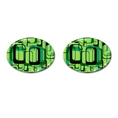 Retro Pattern 1971 Green Cufflinks (oval) by ImpressiveMoments