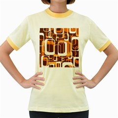 Retro Pattern 1971 Orange Women s Fitted Ringer T Shirts by ImpressiveMoments