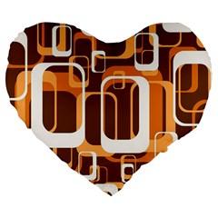 Retro Pattern 1971 Orange Large 19  Premium Flano Heart Shape Cushions by ImpressiveMoments