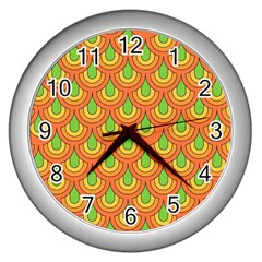 70s Green Orange Pattern Wall Clocks (silver)  by ImpressiveMoments