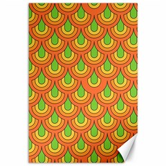 70s Green Orange Pattern Canvas 12  X 18
