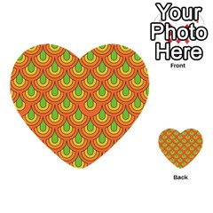 70s Green Orange Pattern Multi Purpose Cards (heart)  by ImpressiveMoments