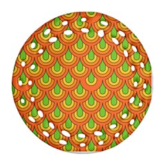 70s Green Orange Pattern Round Filigree Ornament (2side) by ImpressiveMoments