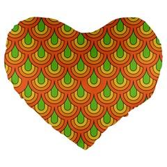 70s Green Orange Pattern Large 19  Premium Heart Shape Cushions by ImpressiveMoments