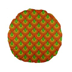 70s Green Orange Pattern Standard 15  Premium Flano Round Cushions by ImpressiveMoments