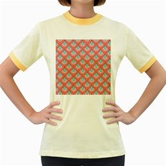 70s Peach Aqua Pattern Women s Fitted Ringer T-Shirts by ImpressiveMoments