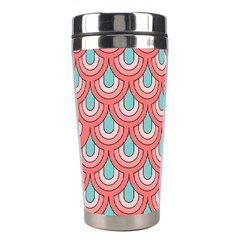 70s Peach Aqua Pattern Stainless Steel Travel Tumblers by ImpressiveMoments