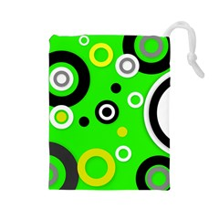 Florescent Green Yellow Abstract  Drawstring Pouches (large)
