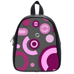 Grey Plum Abstract Pattern  School Bags (small)