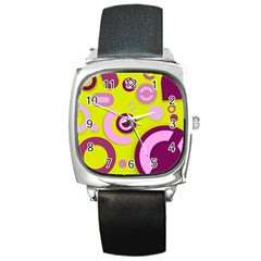 Florescent Yellow Pink Abstract  Square Metal Watches by OCDesignss