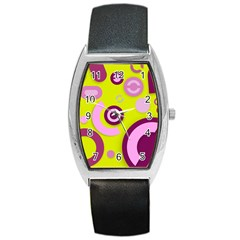 Florescent Yellow Pink Abstract  Barrel Metal Watches by OCDesignss