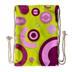 Florescent Yellow Pink Abstract  Drawstring Bag (large)