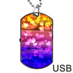 Lovely Hearts, Bokeh Dog Tag Usb Flash (one Side) by ImpressiveMoments