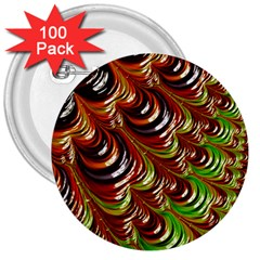 Special Fractal 31 Green,brown 3  Buttons (100 Pack)  by ImpressiveMoments