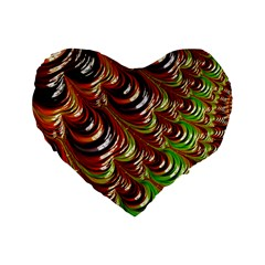 Special Fractal 31 Green,brown Standard 16  Premium Flano Heart Shape Cushions by ImpressiveMoments
