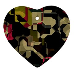 Techno Puzzle Heart Ornament (two Sides) by LalyLauraFLM