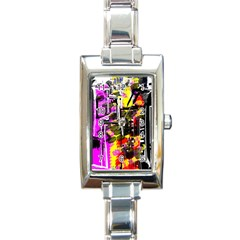 Abstract City View Rectangle Italian Charm Watches by digitaldivadesigns