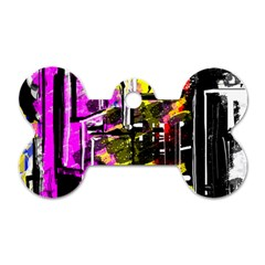 Abstract City View Dog Tag Bone (two Sides) by theunrulyartist
