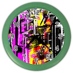 Abstract City View Color Wall Clocks by digitaldivadesigns