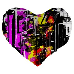 Abstract City View Large 19  Premium Heart Shape Cushions by theunrulyartist